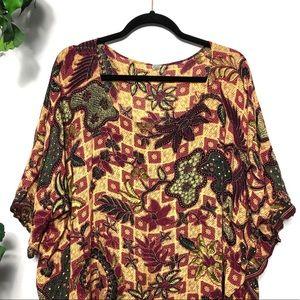 Vintage Tops - Vintage Kaftan Floral Fringe Boho Top Size - O/S